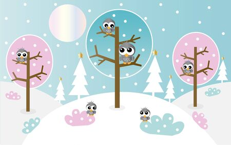 lanscape: header banner winter lanscape with owls