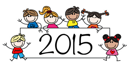 happy new year mixed ethnic children Vector