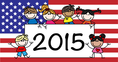 happy new year American flag header or banner Vector