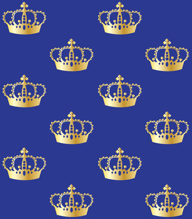 seamless pattern golden crowns on blue background Vector