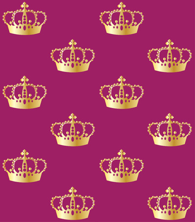 gold textures: seamless pattern golden crowns on blue background Illustration