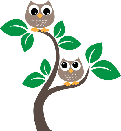 two sweet owl sitting in a tree Vector