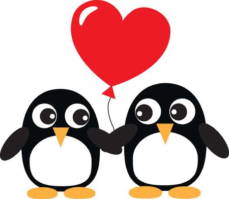 two sweet penguins in love Vector