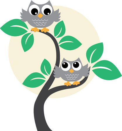 2 objects: Two owls in a tree Illustration