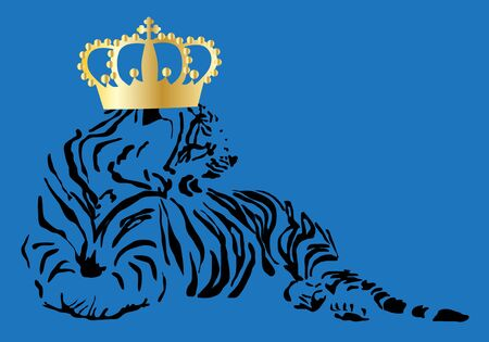 golden crown: a tiger with a golden crown blue background