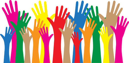 reaching hands love freedom diversity Illustration