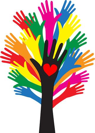reaching hands love freedom diversity 일러스트