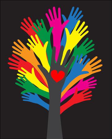 reaching hands: katachtige hou diversiteit vrijheid