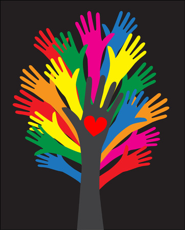 reaching: reaching hands love freedom diversity Illustration