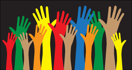 human hand: reaching hands love freedom diversity Illustration