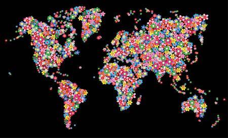map world flowers milieu Vector