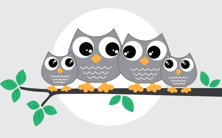 owl illustration: a sweet little owl family Illustration