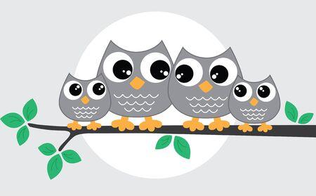 a sweet little owl family Illustration