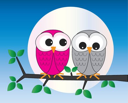 two sweet owl sitting on a branch Vector