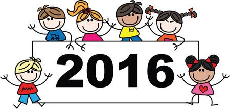 mixed ethnic children 2016 new year Stock Illustratie