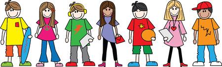 混合: 混合民族の 10 代 10 代の若者のヘッダーやバナー  イラスト・ベクター素材