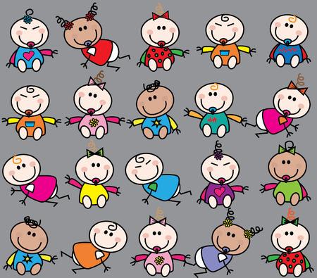 cartoons sweet: mixed ethnic babies seamless pattern Illustration