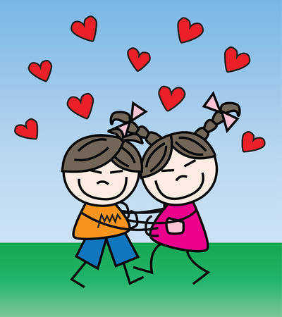 love and friendship: love friendship or other love celebration Illustration