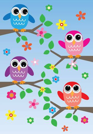 cartoons sweet: Colorful owls background