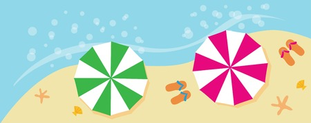 vector banners or headers: beach summer holiday