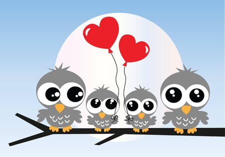 vectors: a sweet owl family