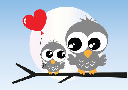 mother's day: two sweet owls sitting on a branch Illustration