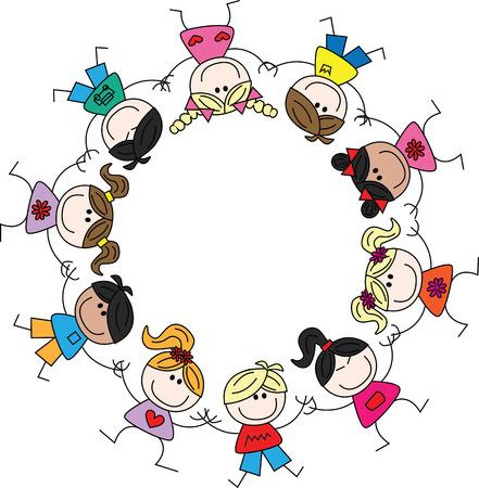 mixed ethnic cultural children  イラスト・ベクター素材