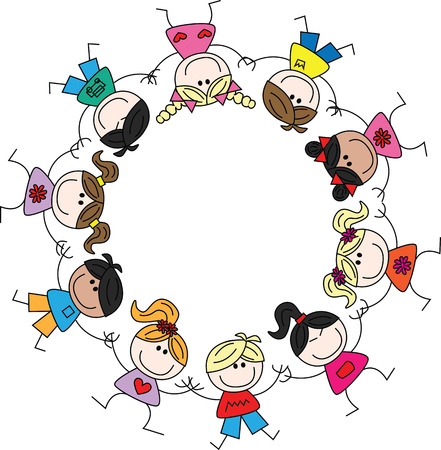 mixed ethnic cultural children Stock Illustratie
