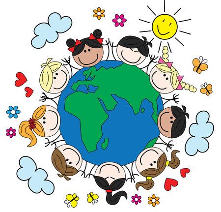 gemengd gelukkige kinderen rond onze wereld Stock Illustratie