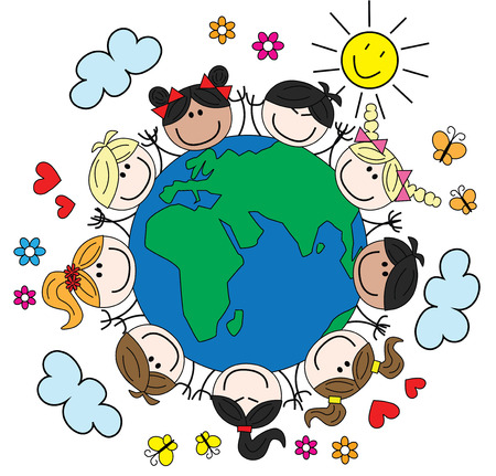 mixed happy children around our world Illustration