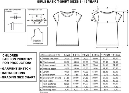 girls top sizes and garment sketch for production