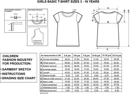 meisjes top maten en kledingstuk schets voor de productie