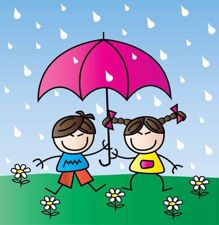 two happy asian children in the rain