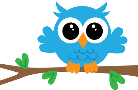 a cute little blue owl sitting on a branch
