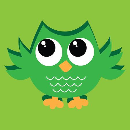 Kleurrijke groene uil Stock Illustratie