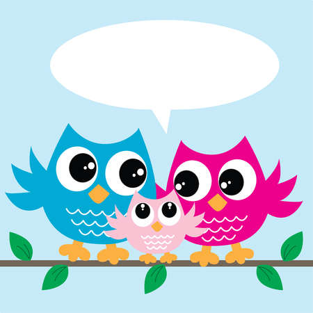 a sweet little owl family Illustration