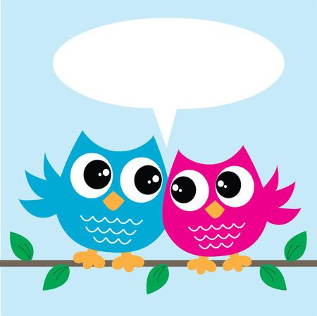 twee kleurrijke uilen met een boodschap