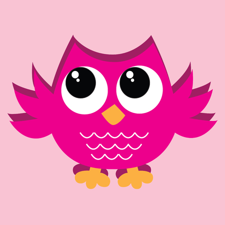 kleurrijke roze uil Stock Illustratie