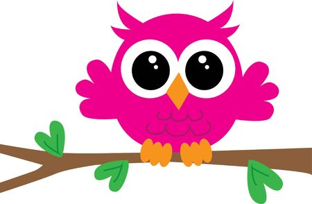 a cute little pink owl sitting on a branch Illustration