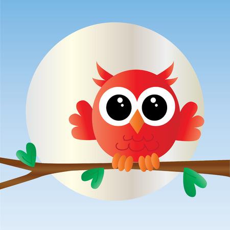 een lief klein rode uil Stock Illustratie