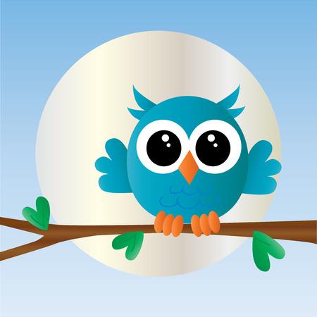 oiseau dessin: un petit hibou bleu doux