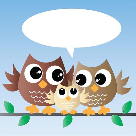 owl family: a sweet little owl family Illustration