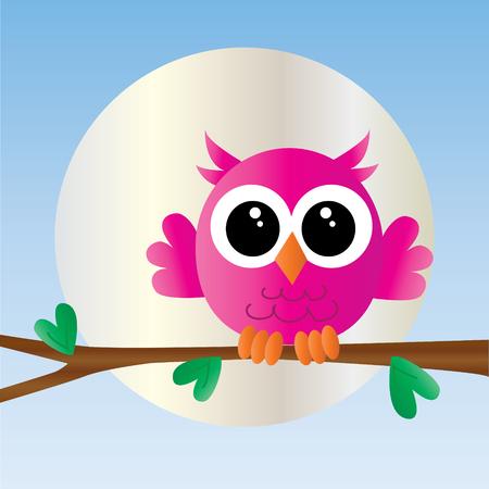 oiseau dessin: un petit hibou rose bonbon Illustration