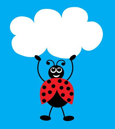 a cute little ladybug blue background