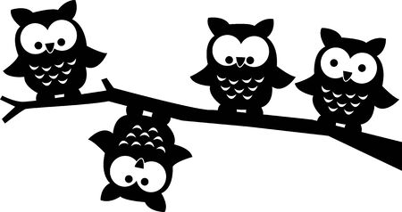 ilustrations: four sweet owls in a tree Illustration