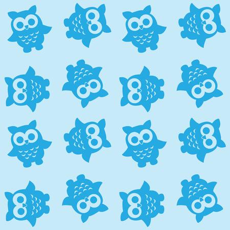 naadloze uil patroon in blauwe kleuren Stock Illustratie