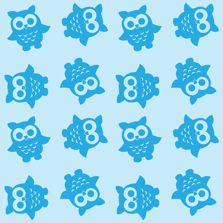 seamless owl pattern in blue colors Illustration