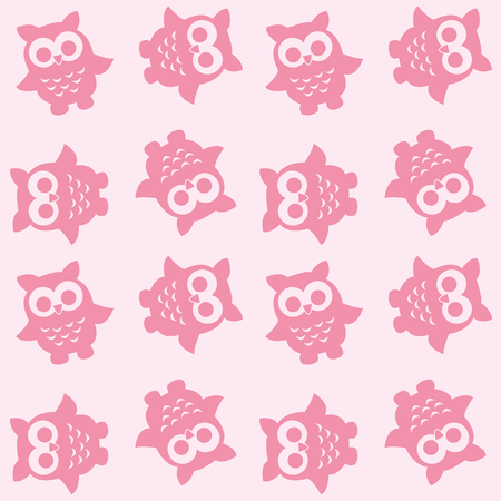seamless owl pattern in pink colors Illustration