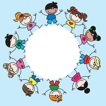 Gemengde etnische gelukkige kinderen frame grens header