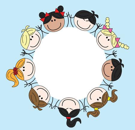 mixed ethnic children frame border header Illustration